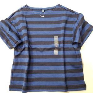 Girl Stripe Navy Half Sleeves Cute Uniqlo T-Shirt